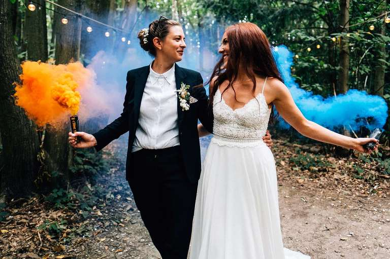 Smoke bombs at The Dreys woodland wedding with Vicky and Hollie.