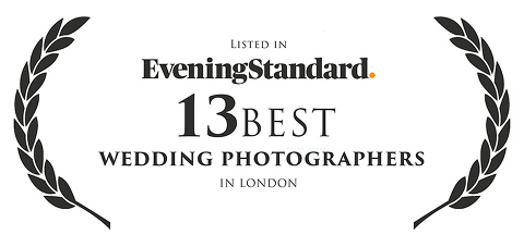 Listed in the Evening Standard 13 best wedding photographers in London