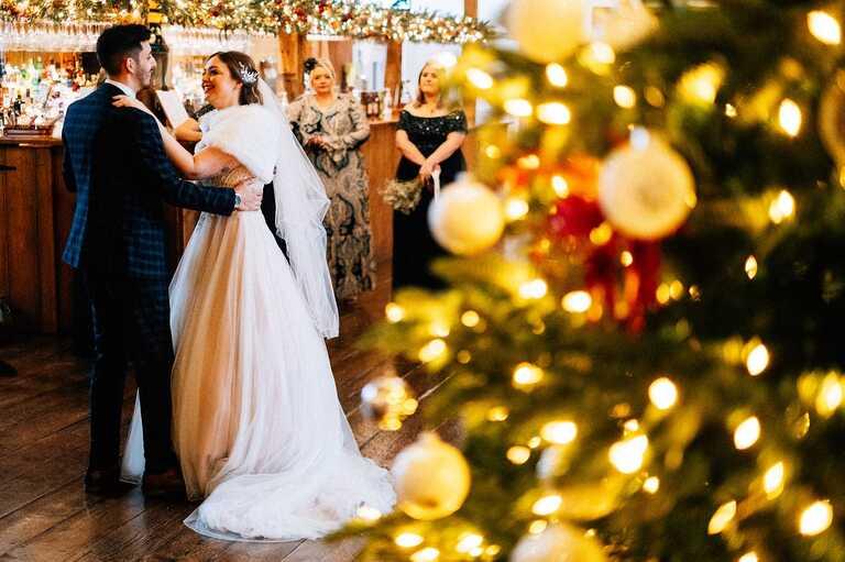 Intimate Christmas wedding at Winters Barns