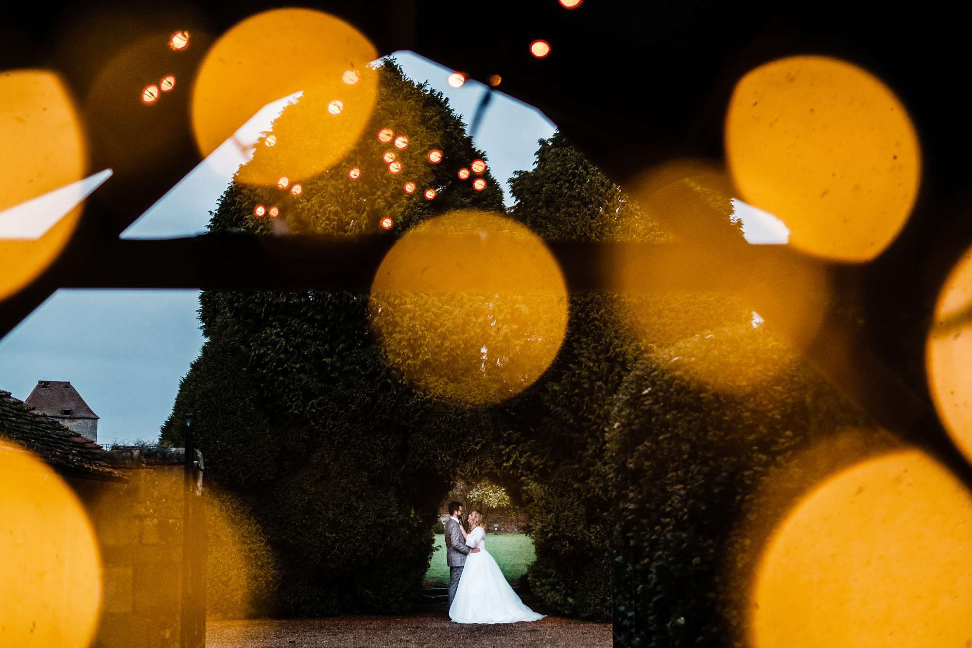 Gorgeous fairy lights at Notley Abbey wedding