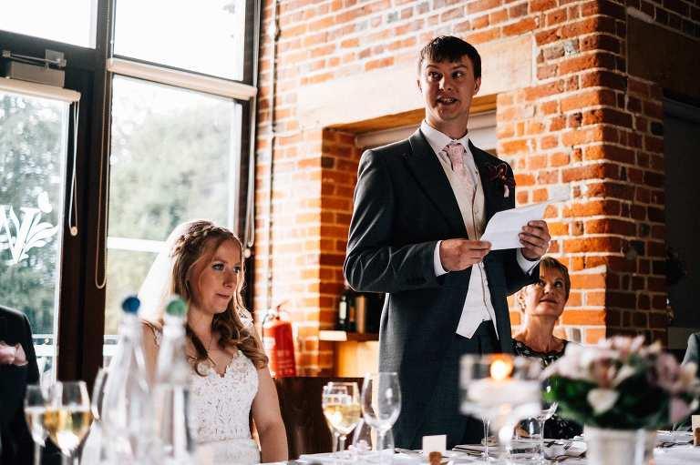 Wedding speeches at Wasing Park wedding