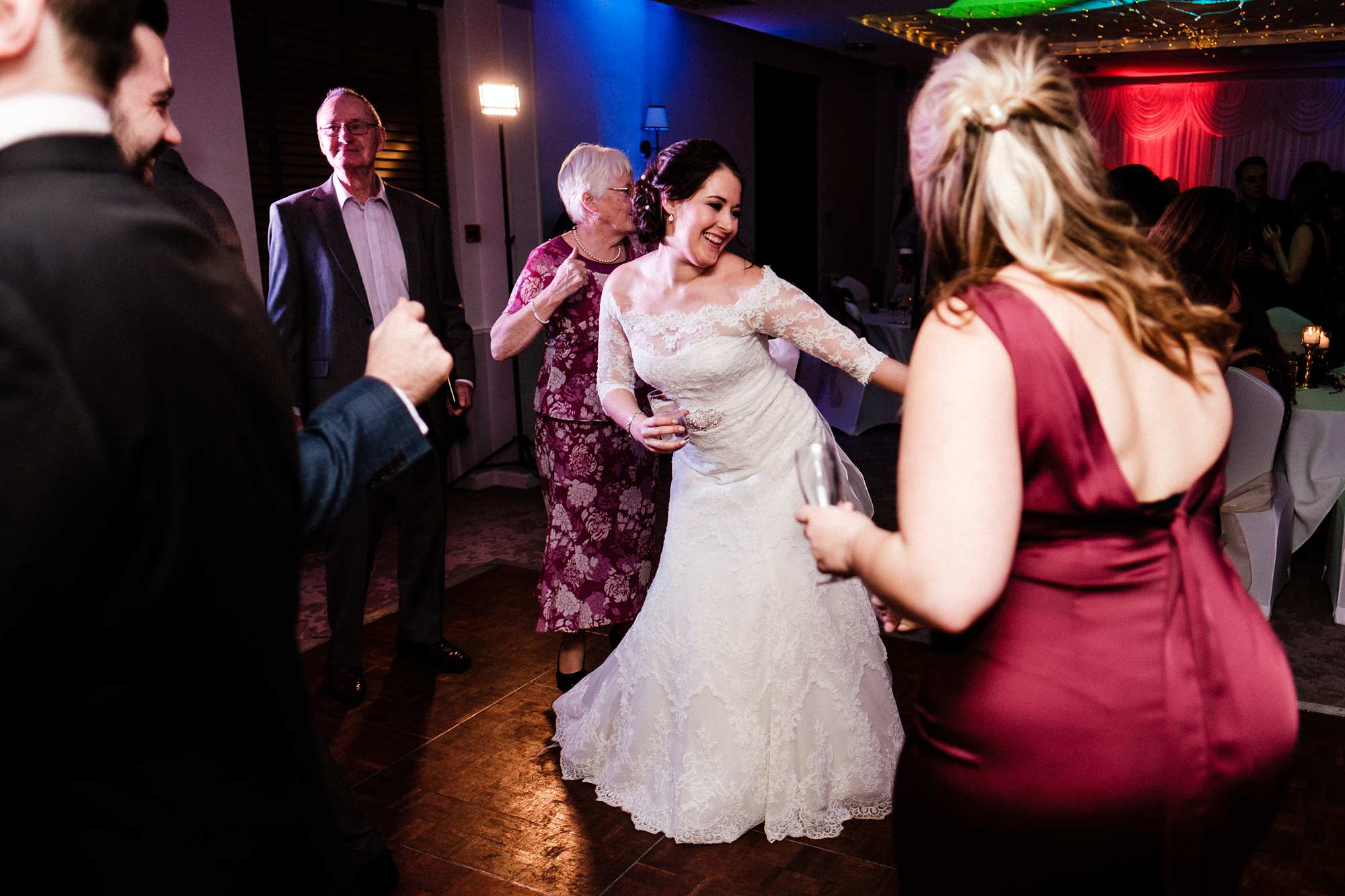 Evening party at a February wedding at Highfield Park in Hampshire